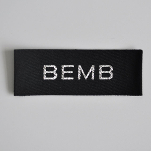silvery thread woven label for garment QD-WL-0012